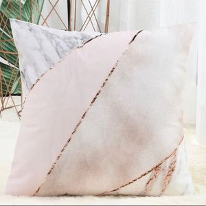 Rose Gold Marble Accent Pillow Case